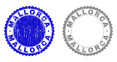 Grunge MALLORCA stamp seals isolated on a white background. Rosette seals with grunge texture in blue and grey colors. Vector rubber stamp imprint of MALLORCA label inside round rosette.
