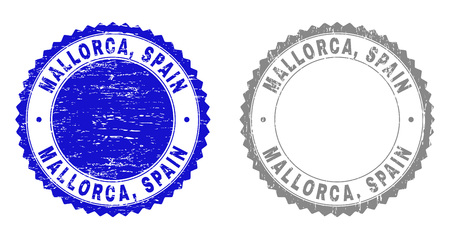 Grunge MALLORCA, SPAIN stamp seals isolated on a white background. Rosette seals with grunge texture in blue and grey colors. Vector rubber stamp imprint of MALLORCA, SPAIN label inside round rosette.