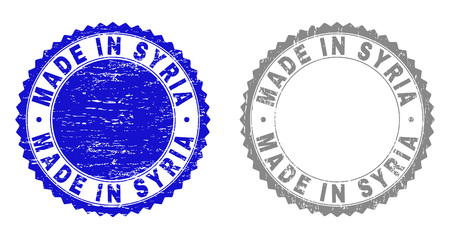 Grunge MADE IN SYRIA stamp seals isolated on a white background. Rosette seals with grunge texture in blue and gray colors. Vector rubber stamp imitation of MADE IN SYRIA tag inside round rosette. Çizim
