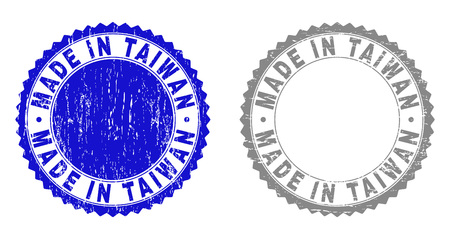 Grunge MADE IN TAIWAN stamp seals isolated on a white background. Rosette seals with grunge texture in blue and gray colors. Vector rubber stamp imprint of MADE IN TAIWAN label inside round rosette.