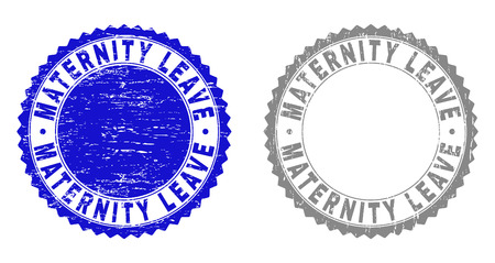 Grunge MATERNITY LEAVE stamp seals isolated on a white background. Rosette seals with grunge texture in blue and grey colors.