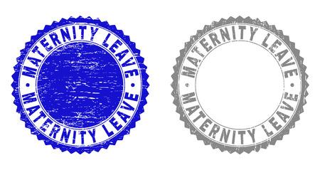 Sceaux de timbre de congé de maternité grunge isolés sur fond blanc. Joints de rosette avec texture grunge dans des couleurs bleues et grises. Vecteurs