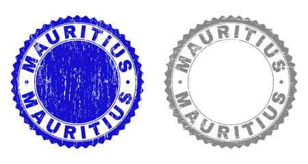 Grunge MAURITIUS stamp seals isolated on a white background. Rosette seals with grunge texture in blue and gray colors. Vector rubber stamp imitation of MAURITIUS caption inside round rosette.