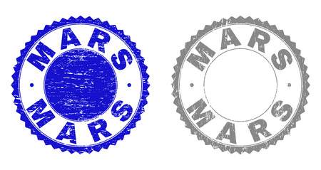 Grunge MARS stamp seals isolated on a white background. Rosette seals with grunge texture in blue and gray colors. Vector rubber stamp imprint of MARS caption inside round rosette.