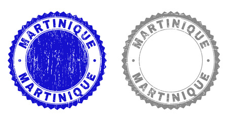 Grunge MARTINIQUE stamp seals isolated on a white background. Rosette seals with grunge texture in blue and grey colors. Vector rubber stamp imitation of MARTINIQUE title inside round rosette. Vetores