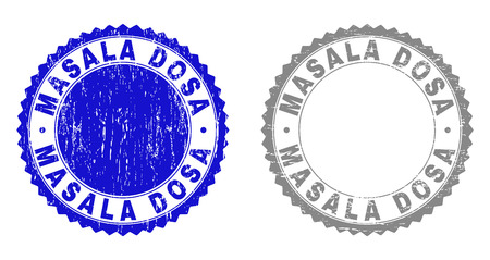 Grunge MASALA DOSA stamp seals isolated on a white background. Rosette seals with grunge texture in blue and gray colors. Vector rubber stamp imitation of MASALA DOSA tag inside round rosette.