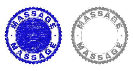 Grunge-MASSAGE-Stempelsiegel isoliert auf weißem Hintergrund. Rosettendichtungen mit Grunge-Textur in blauen und grauen Farben. Vektor-Stempel-Aufdruck der MASSAGE-Beschriftung in der runden Rosette.