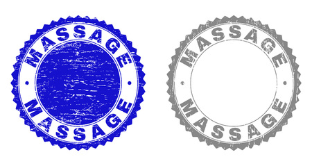 Grunge MASSAGE stamp seals isolated on a white background. Rosette seals with grunge texture in blue and gray colors. Vector rubber stamp imprint of MASSAGE caption inside round rosette.