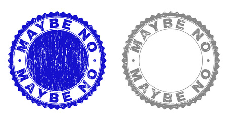 Grunge MAYBE NO stamp seals isolated on a white background. Rosette seals with grunge texture in blue and grey colors. Vector rubber stamp imprint of MAYBE NO label inside round rosette.  イラスト・ベクター素材