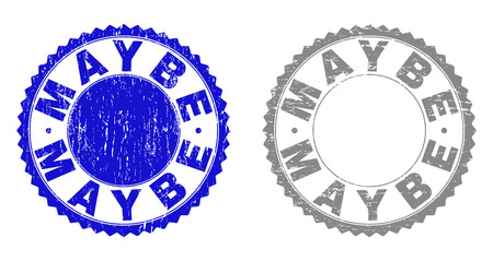 Grunge MAYBE stamp seals isolated on a white background. Rosette seals with grunge texture in blue and gray colors. Vector rubber watermark of MAYBE title inside round rosette.