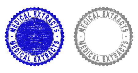 Grunge MEDICAL EXTRACTS stamp seals isolated on a white background. Rosette seals with grunge texture in blue and grey colors. Vector rubber overlay of MEDICAL EXTRACTS label inside round rosette.