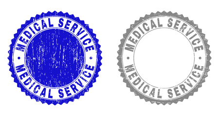 Grunge MEDICAL SERVICE stamp seals isolated on a white background. Rosette seals with grunge texture in blue and grey colors. Vector rubber stamp imprint of MEDICAL SERVICE label inside round rosette.