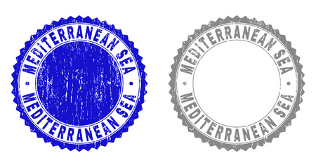 Grunge MEDITERRANEAN SEA stamp seals isolated on a white background. Rosette seals with grunge texture in blue and gray colors.