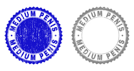 Grunge MEDIUM PENIS stamp seals isolated on a white background. Rosette seals with grunge texture in blue and grey colors. Vector rubber stamp imprint of MEDIUM PENIS caption inside round rosette. Ilustração