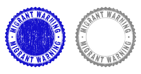Grunge MIGRANT WARNING stamp seals isolated on a white background. Rosette seals with grunge texture in blue and grey colors. Illustration