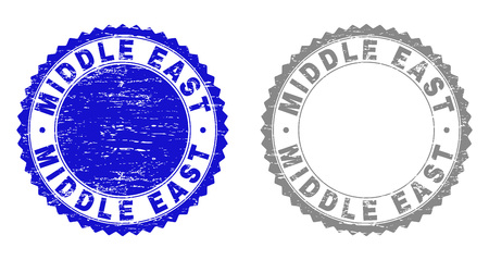 Grunge MIDDLE EAST stamp seals isolated on a white background. Rosette seals with grunge texture in blue and gray colors. Vector rubber watermark of MIDDLE EAST label inside round rosette.  イラスト・ベクター素材