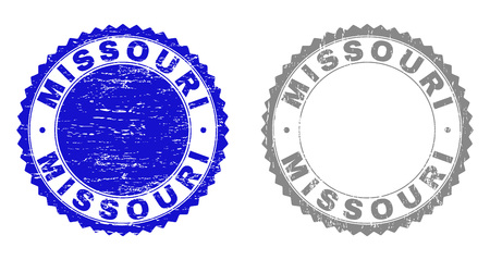 Grunge MISSOURI stamp seals isolated on a white background. Rosette seals with distress texture in blue and gray colors. Vector rubber stamp imitation of MISSOURI tag inside round rosette.
