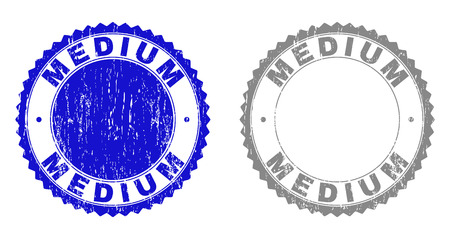 Grunge MEDIUM stamp seals isolated on a white background. Rosette seals with distress texture in blue and gray colors. Vector rubber stamp imprint of MEDIUM title inside round rosette.