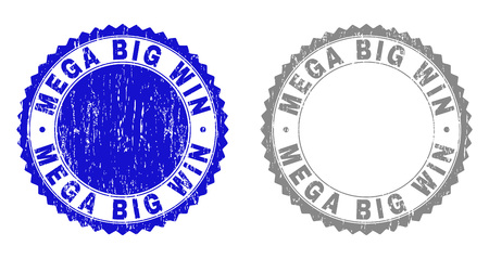 Grunge MEGA BIG WIN stamp seals isolated on a white background. Rosette seals with grunge texture in blue and grey colors. Vector rubber stamp imprint of MEGA BIG WIN caption inside round rosette.