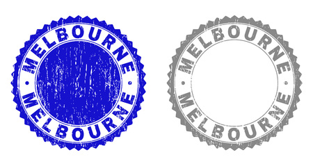 Grunge MELBOURNE stamp seals isolated on a white background. Rosette seals with distress texture in blue and grey colors. Vector rubber stamp imitation of MELBOURNE caption inside round rosette. Illustration