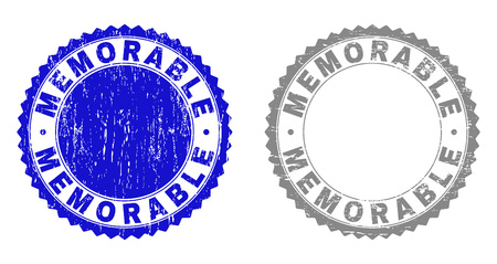 Grunge MEMORABLE stamp seals isolated on a white background. Rosette seals with grunge texture in blue and gray colors. Vector rubber stamp imprint of MEMORABLE caption inside round rosette. Иллюстрация