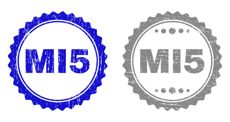 Grunge MI5 stamp seals isolated on a white background. Rosette seals with distress texture in blue and gray colors. Vector rubber stamp imitation of MI5 label inside round rosette.