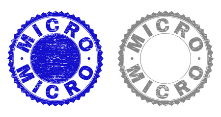 Grunge MICRO stamp seals isolated on a white background. Rosette seals with grunge texture in blue and grey colors. Vector rubber stamp imprint of MICRO tag inside round rosette.