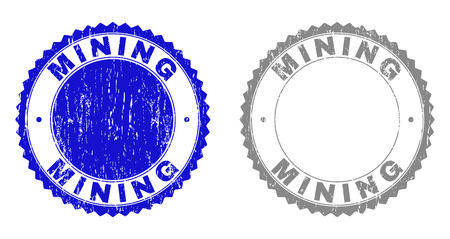 Grunge MINING stamp seals isolated on a white background. Rosette seals with grunge texture in blue and grey colors. Vector rubber stamp imitation of MINING caption inside round rosette.