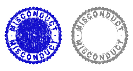 Grunge MISCONDUCT stamp seals isolated on a white background. Rosette seals with grunge texture in blue and gray colors. Vector rubber stamp imitation of MISCONDUCT tag inside round rosette.