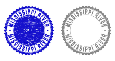Grunge MISSISSIPPI RIVER stamp seals isolated on a white background. Rosette seals with grunge texture in blue and grey colors.