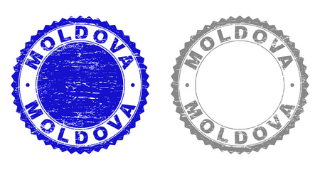 Grunge MOLDOVA stamp seals isolated on a white background. Rosette seals with grunge texture in blue and grey colors. Vector rubber stamp imprint of MOLDOVA tag inside round rosette.