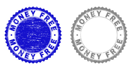 Grunge MONEY FREE stamp seals isolated on a white background. Rosette seals with grunge texture in blue and grey colors. Vector rubber stamp imprint of MONEY FREE caption inside round rosette.
