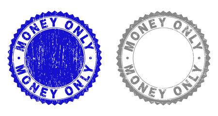 Grunge MONEY ONLY stamp seals isolated on a white background. Rosette seals with grunge texture in blue and grey colors. Vector rubber stamp imitation of MONEY ONLY title inside round rosette.