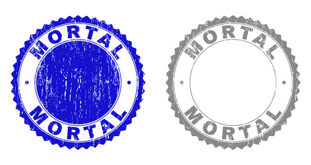Grunge MORTAL stamp seals isolated on a white background. Rosette seals with distress texture in blue and gray colors. Vector rubber stamp imitation of MORTAL caption inside round rosette.