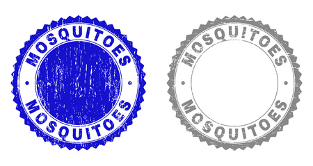 Grunge MOSQUITOES stamp seals isolated on a white background. Rosette seals with distress texture in blue and grey colors. Vector rubber stamp imitation of MOSQUITOES title inside round rosette.