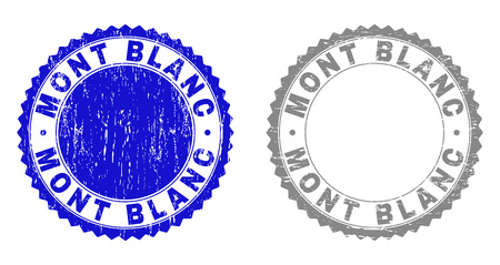 Grunge MONT BLANC stamp seals isolated on a white background. Rosette seals with distress texture in blue and gray colors. Vector rubber stamp imprint of MONT BLANC label inside round rosette. Illustration