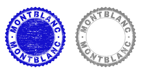 Grunge MONTBLANC stamp seals isolated on a white background. Rosette seals with grunge texture in blue and grey colors. Vector rubber stamp imitation of MONTBLANC tag inside round rosette.