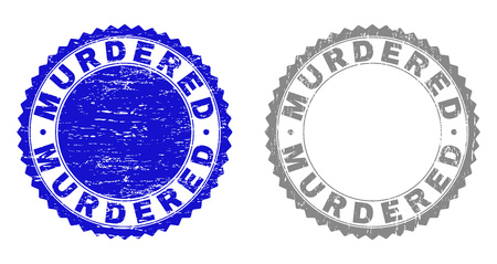 Grunge MURDERED stamp seals isolated on a white background. Rosette seals with distress texture in blue and gray colors. Vector rubber stamp imprint of MURDERED tag inside round rosette.