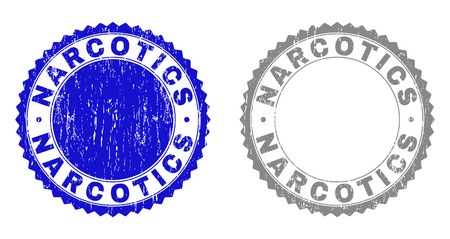 Grunge NARCOTICS stamp seals isolated on a white background. Rosette seals with grunge texture in blue and gray colors. Vector rubber watermark of NARCOTICS tag inside round rosette.