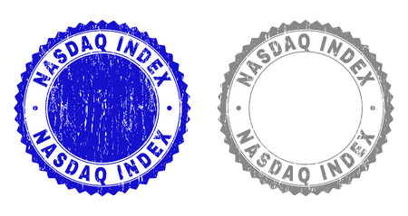 Grunge NASDAQ INDEX stamp seals isolated on a white background. Rosette seals with distress texture in blue and gray colors. Vector rubber watermark of NASDAQ INDEX tag inside round rosette. Vector Illustration
