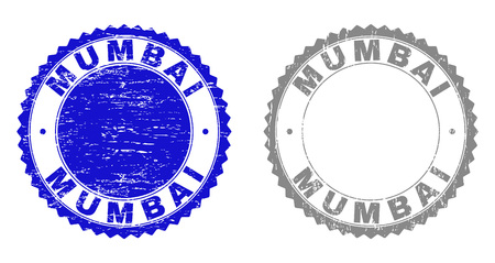 Grunge MUMBAI stamp seals isolated on a white background. Rosette seals with grunge texture in blue and grey colors. Vector rubber overlay of MUMBAI title inside round rosette. Illustration