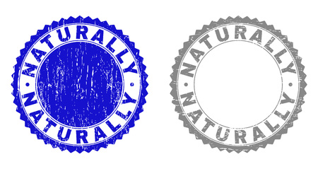 Grunge NATURALLY stamp seals isolated on a white background. Rosette seals with grunge texture in blue and grey colors. Vector rubber stamp imitation of NATURALLY caption inside round rosette. Ilustrace