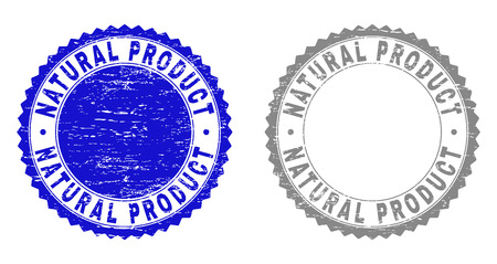Grunge NATURAL PRODUCT stamp seals isolated on a white background. Rosette seals with distress texture in blue and gray colors.