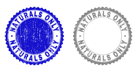 Grunge NATURALS ONLY stamp seals isolated on a white background. Rosette seals with grunge texture in blue and grey colors. Vector rubber stamp imprint of NATURALS ONLY label inside round rosette.