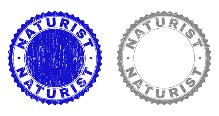 Grunge NATURIST stamp seals isolated on a white background. Rosette seals with grunge texture in blue and gray colors. Vector rubber stamp imitation of NATURIST text inside round rosette. Illusztráció