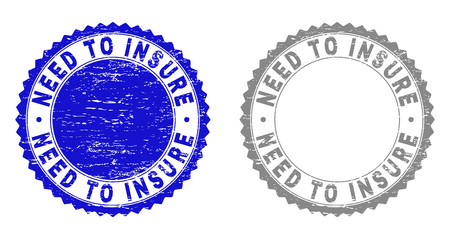 Grunge NEED TO INSURE stamp seals isolated on a white background. Rosette seals with grunge texture in blue and grey colors. Vector rubber stamp imprint of NEED TO INSURE title inside round rosette.