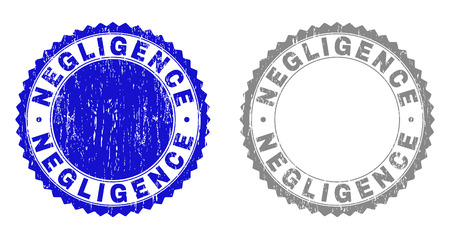 Grunge NEGLIGENCE stamp seals isolated on a white background. Rosette seals with grunge texture in blue and grey colors. Vector rubber overlay of NEGLIGENCE tag inside round rosette. Stock Vector - 116513700
