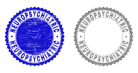 Grunge NEUROPSYCHIATRIC stamps isolated on a white background. Rosette seals with grunge texture in blue and grey colors. Vector rubber stamp imprint of NEUROPSYCHIATRIC caption inside round rosette.