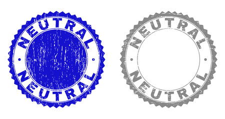 Grunge NEUTRAL stamp seals isolated on a white background. Rosette seals with grunge texture in blue and gray colors. Vector rubber stamp imitation of NEUTRAL title inside round rosette.