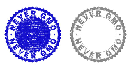 Grunge NEVER GMO stamp seals isolated on a white background. Rosette seals with grunge texture in blue and gray colors. Vector rubber stamp imprint of NEVER GMO label inside round rosette. Ilustrace